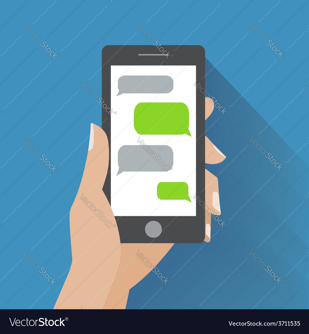 Hand holding smartphone with blank speech bubbles vector | Price: 1 Credit (USD $1)