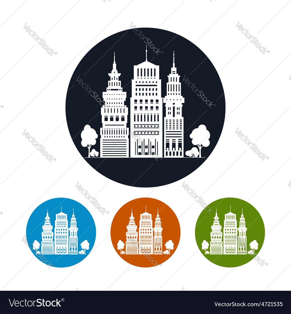 Icon modern big city vector | Price: 1 Credit (USD $1)