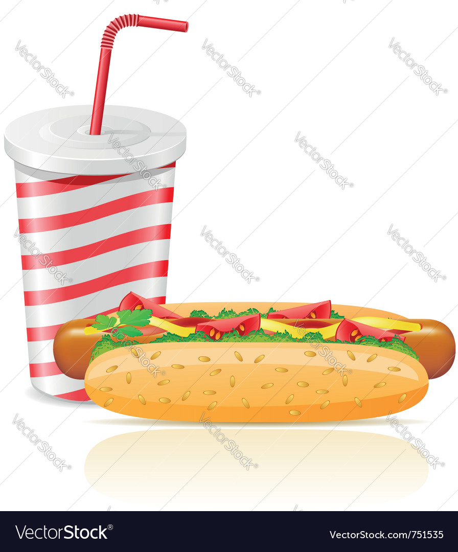 Paper cup with soda and hotdog vector | Price: 3 Credit (USD $3)