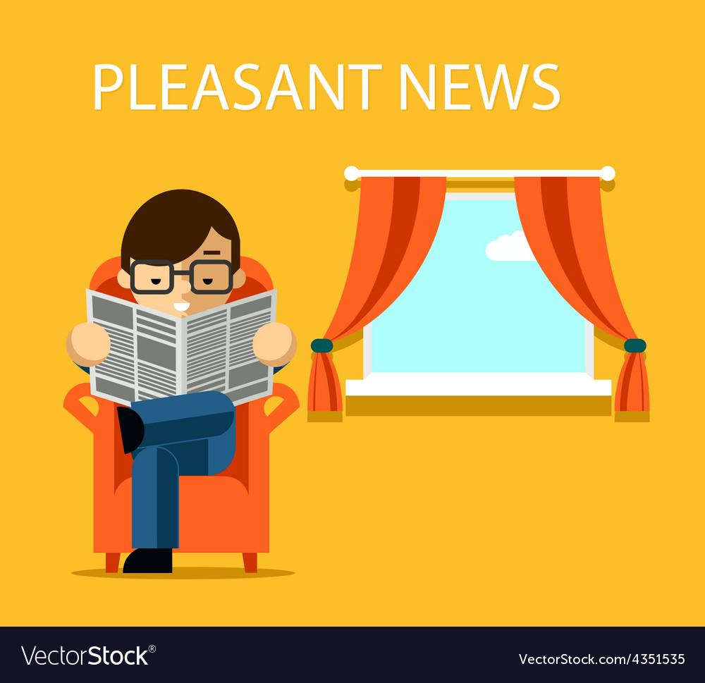 Pleasant news concept businessman reading vector | Price: 1 Credit (USD $1)