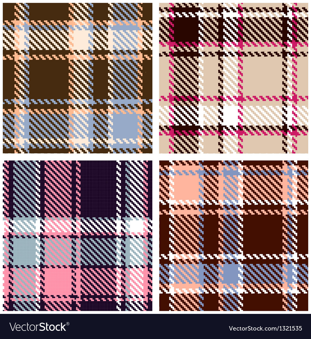 Seamless checkered plaid pattern set vector | Price: 1 Credit (USD $1)