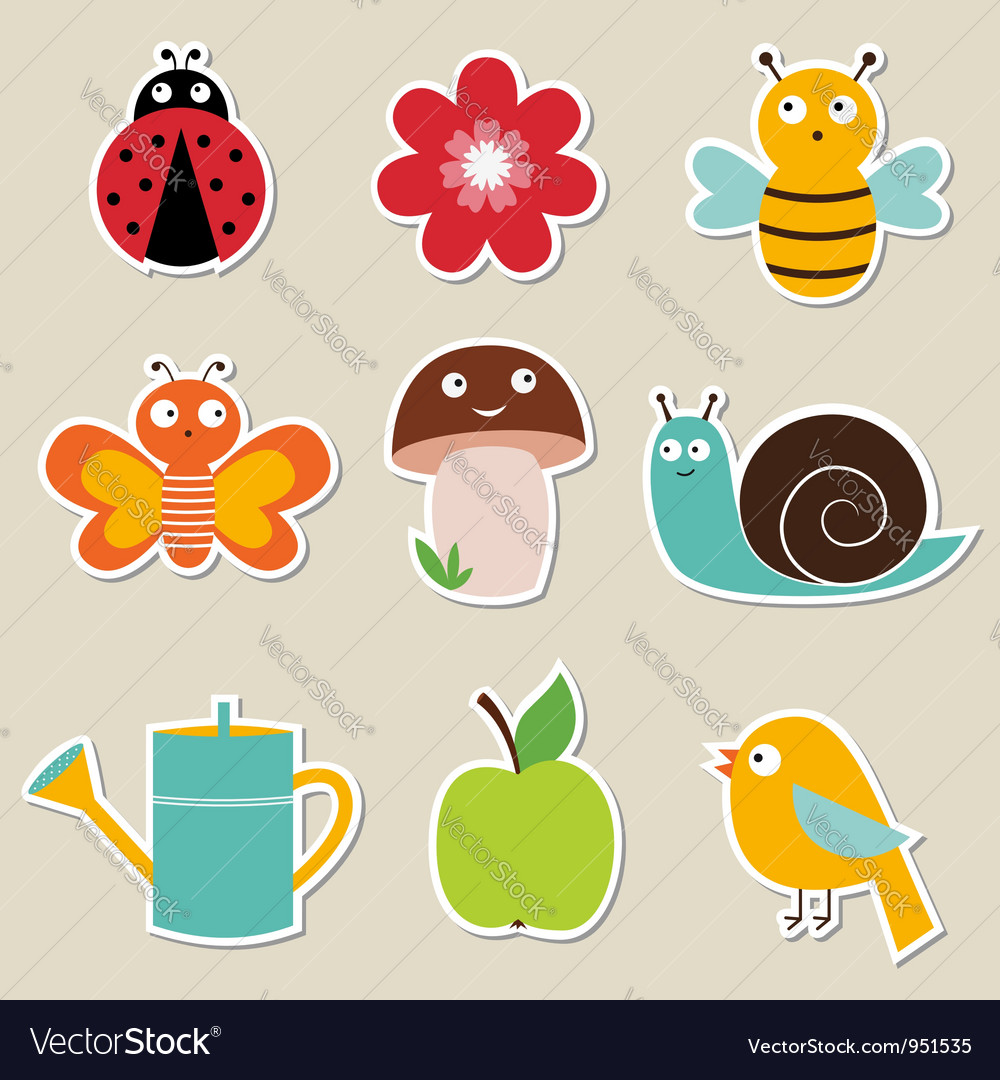 Summer garden stickers set vector | Price: 1 Credit (USD $1)