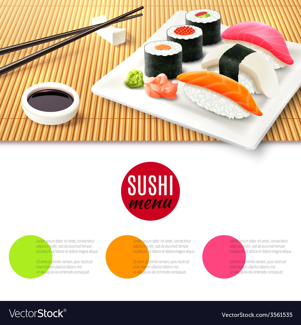 Sushi and bamboo mat vector | Price: 5 Credit (USD $5)