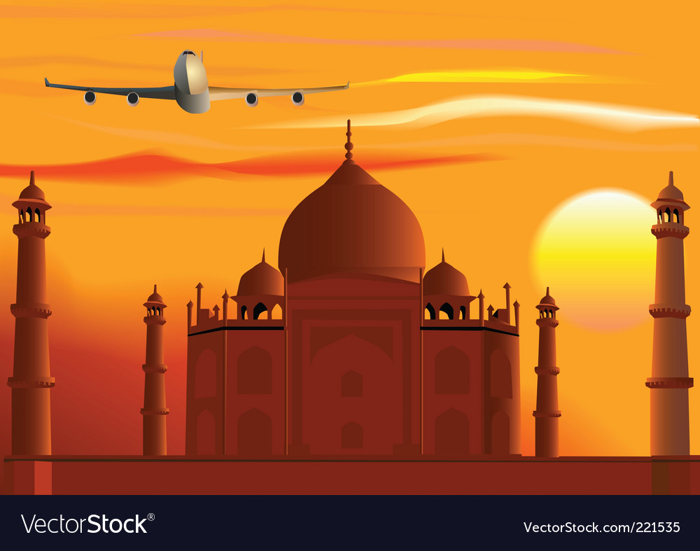 Taj mahal sunset jet vector | Price: 3 Credit (USD $3)