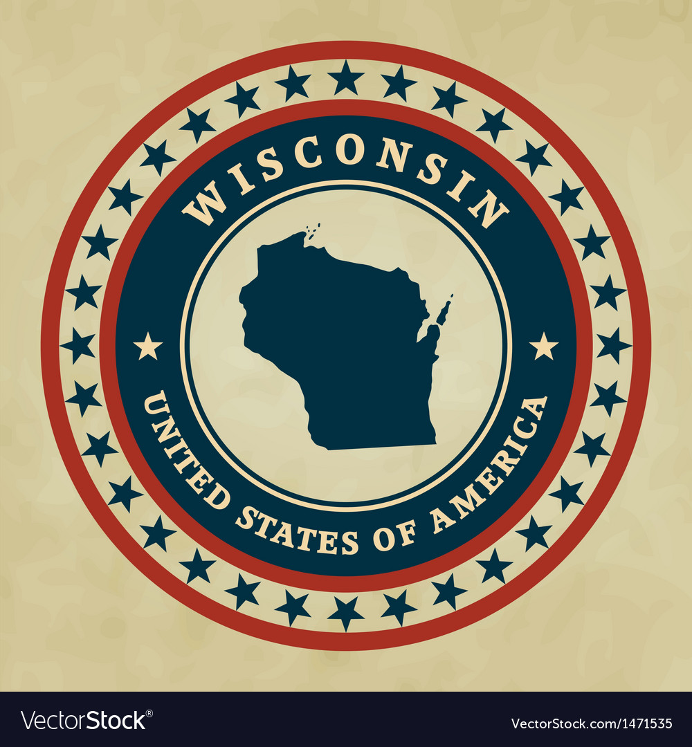 Vintage label wisconsin vector | Price: 1 Credit (USD $1)