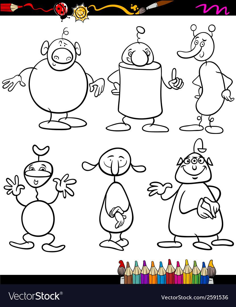 Aliens set cartoon coloring book vector | Price: 1 Credit (USD $1)