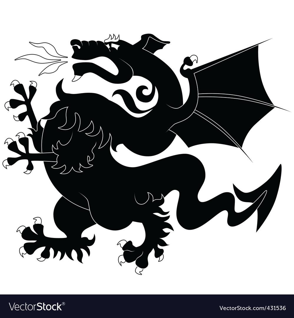 Black ancient dragon vector | Price: 1 Credit (USD $1)