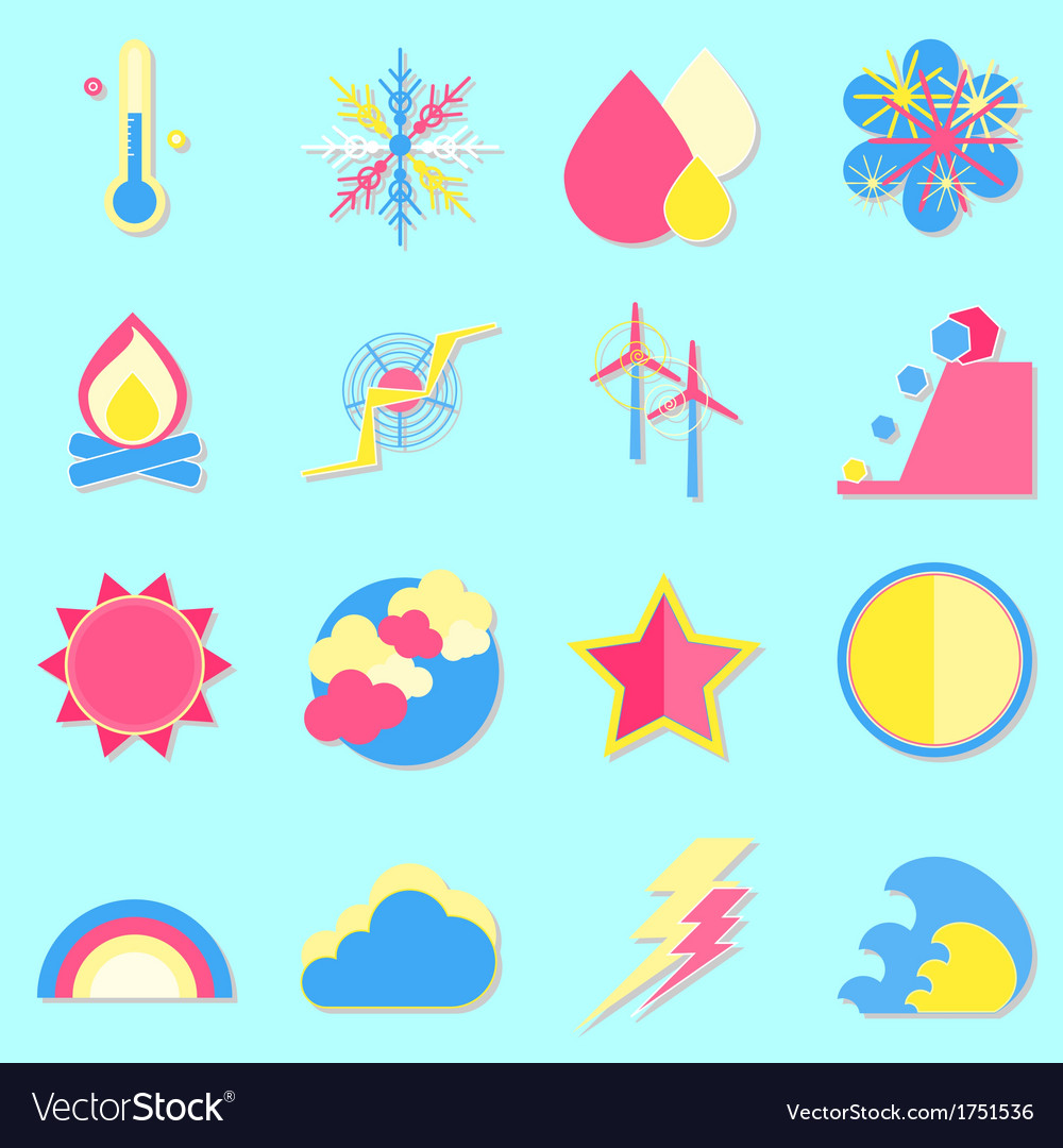Climate color icons with shadow vector | Price: 1 Credit (USD $1)