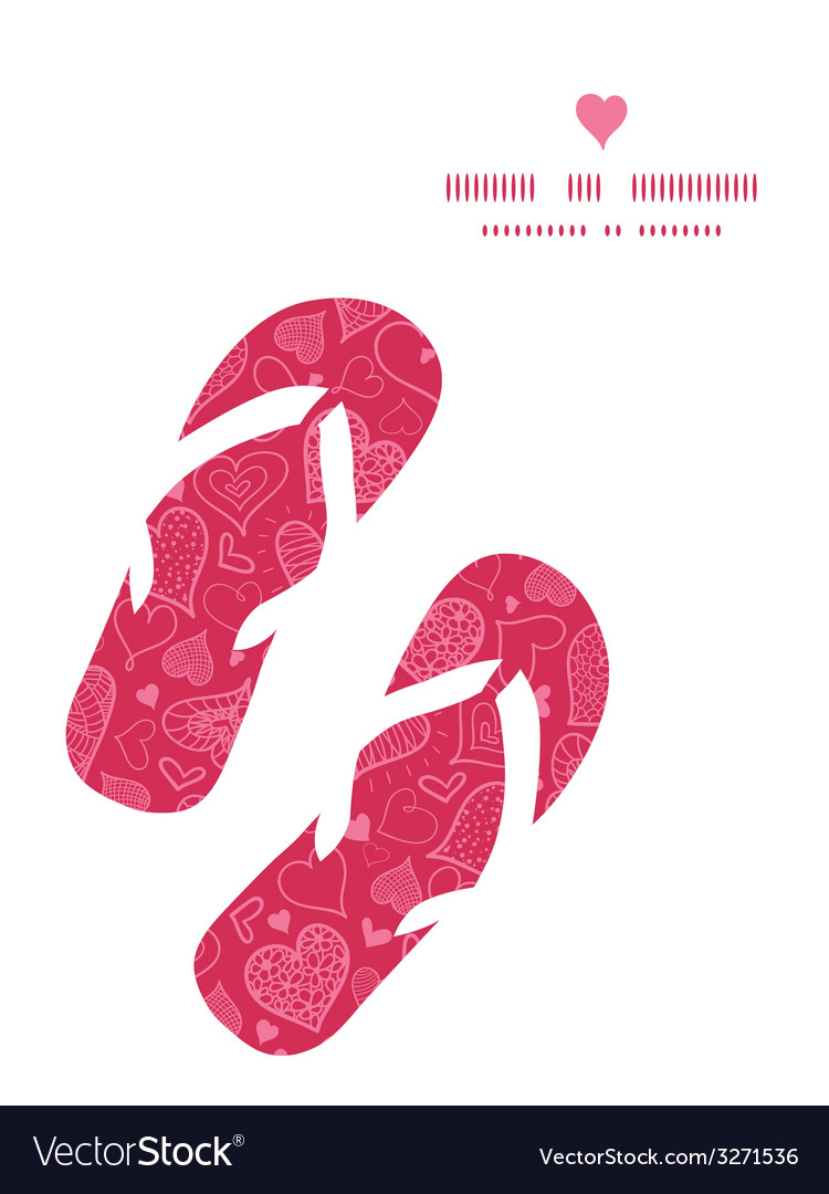 Doodle hearts flip flops silhouettes pattern frame vector | Price: 1 Credit (USD $1)