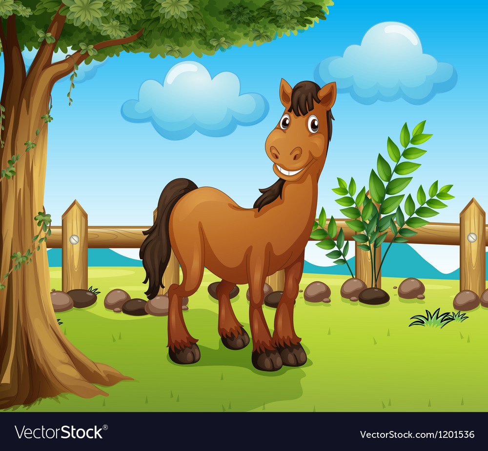 Happy brown horse inside a fence vector | Price: 1 Credit (USD $1)