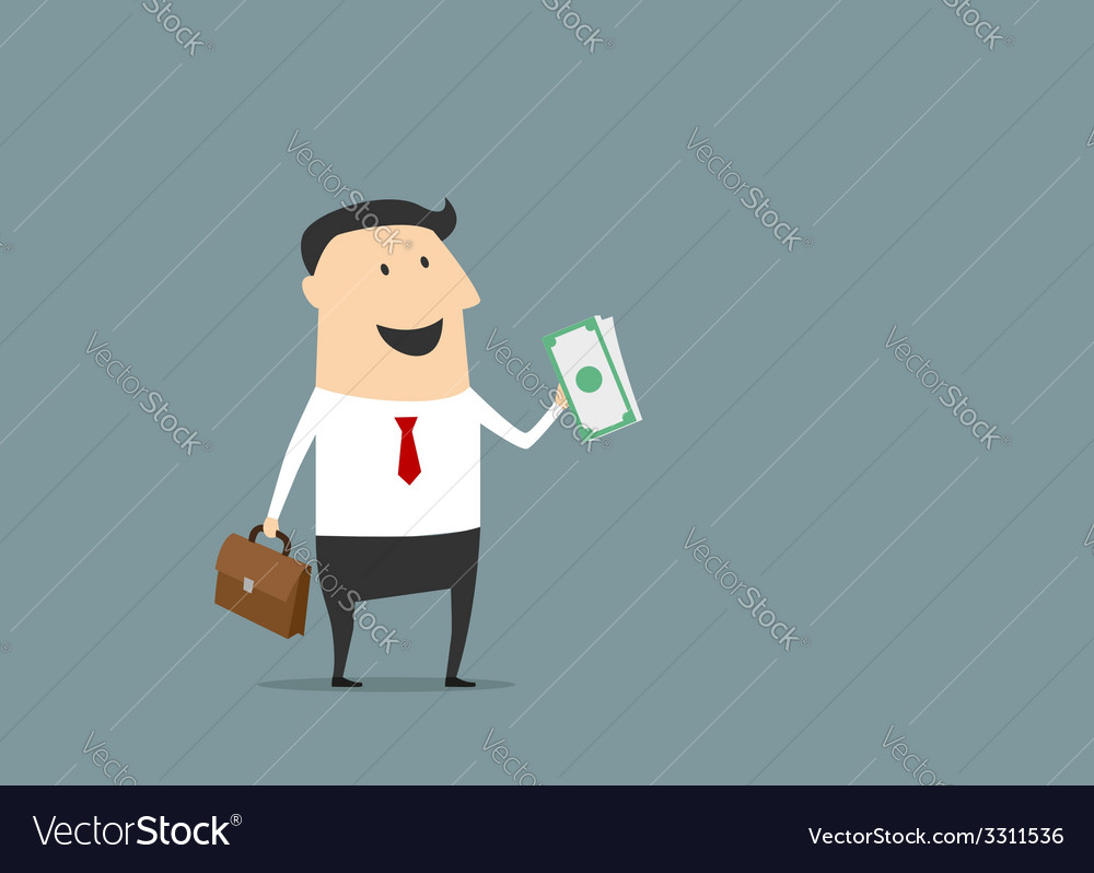 Happy businessman with briefcase and money vector | Price: 1 Credit (USD $1)