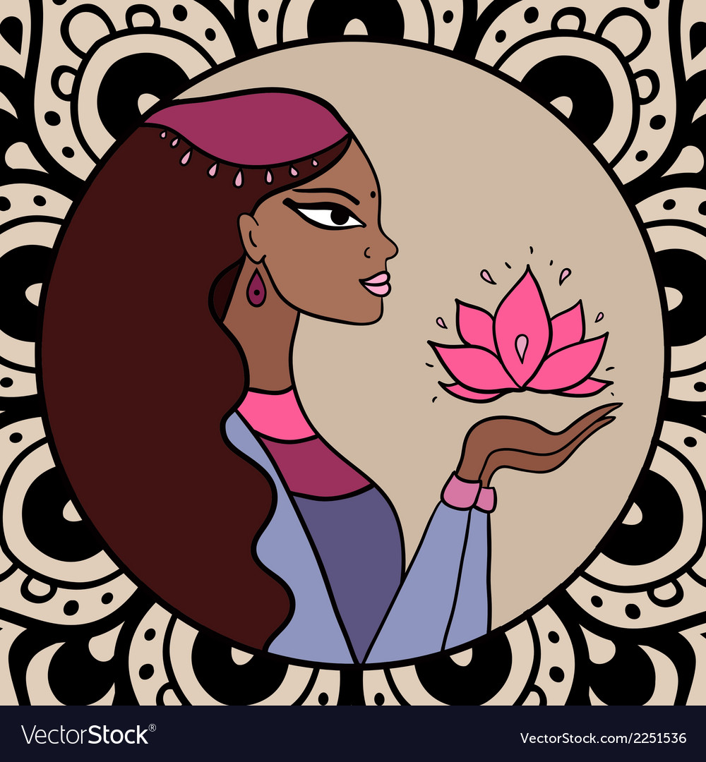 Indian woman with lotus vector   Price: 1 Credit (USD $1)
