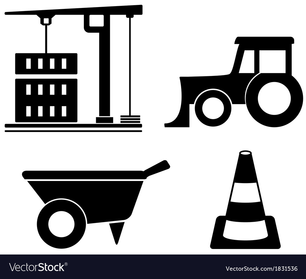 Industrial set with construction objects vector | Price: 1 Credit (USD $1)