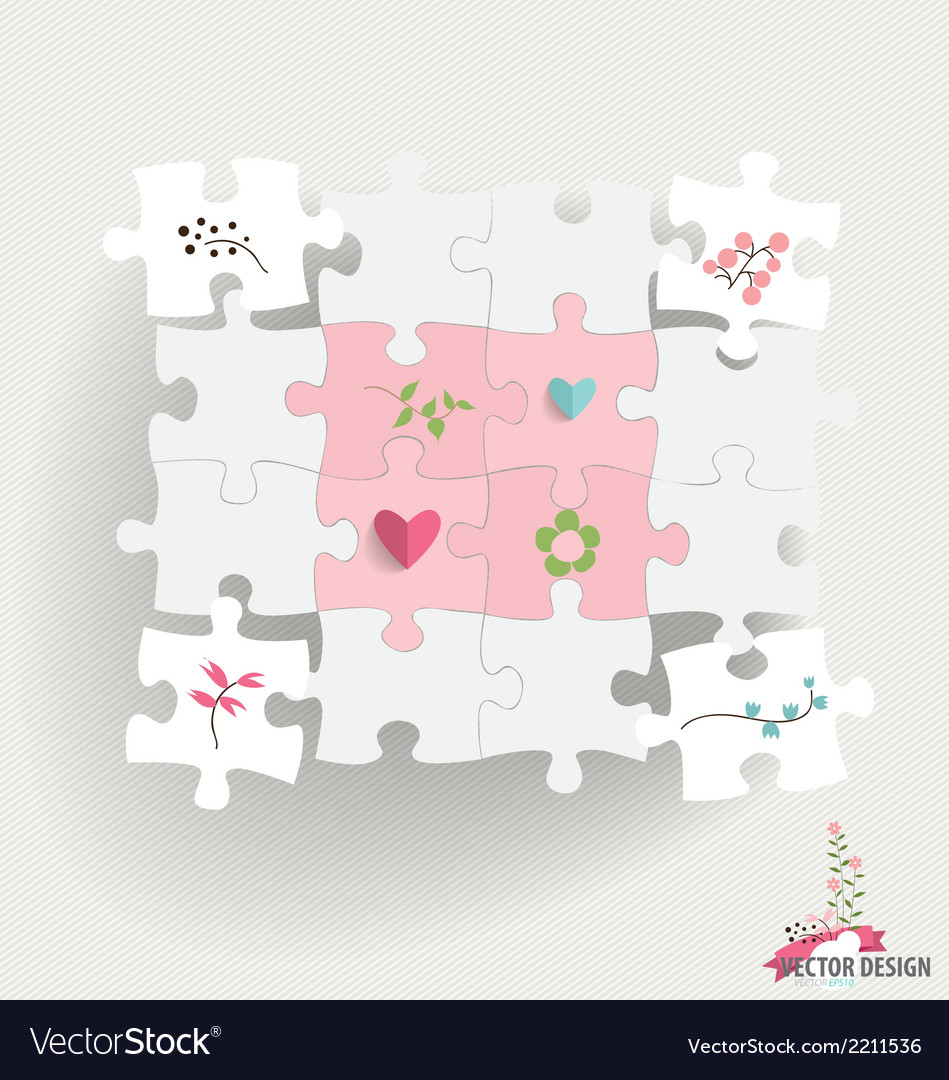 Paper cut of puzzle with heart paper and flowers vector | Price: 1 Credit (USD $1)