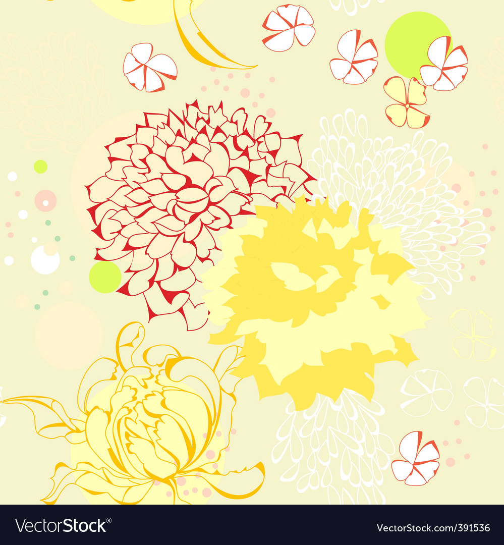 Seamless wallpaper with floral element vector | Price: 1 Credit (USD $1)