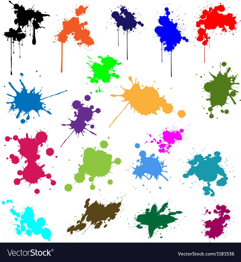 Set of ink in different colors vector   Price: 1 Credit (USD $1)