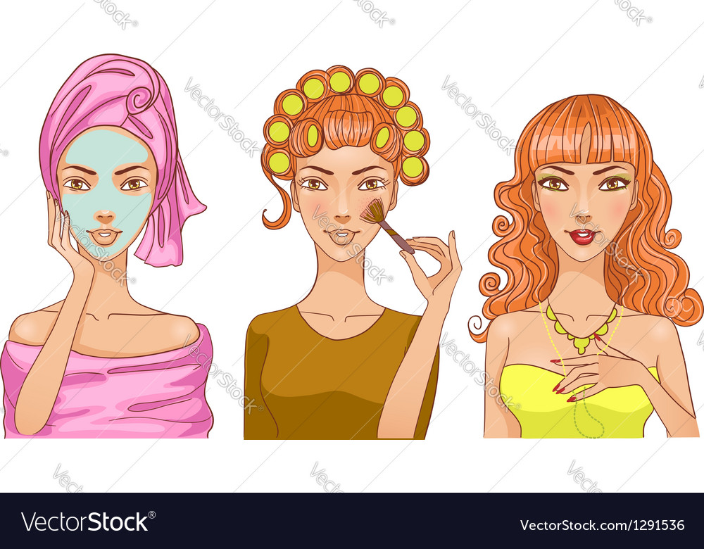 Young girl during makeup ritual vector | Price: 3 Credit (USD $3)