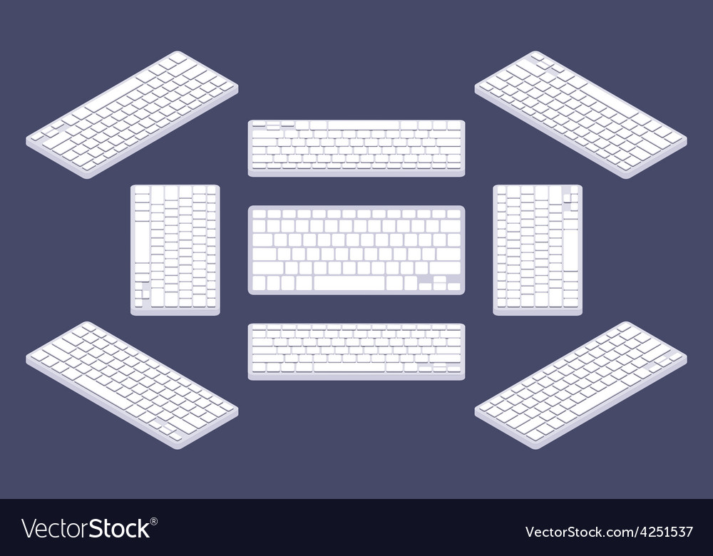Isometric generic white computer keyboard with vector | Price: 1 Credit (USD $1)