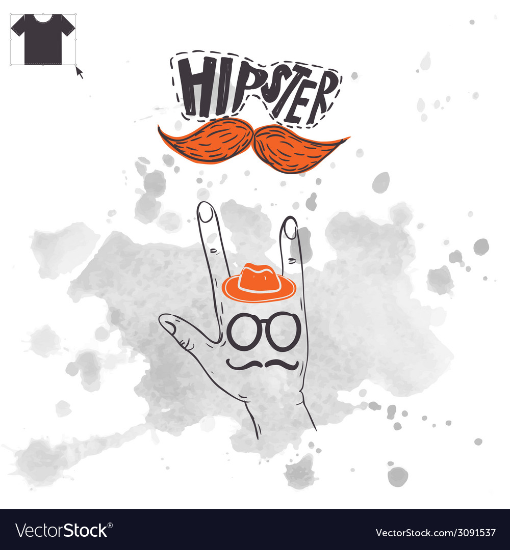 Vintage hand with hipster mustache vector | Price: 1 Credit (USD $1)
