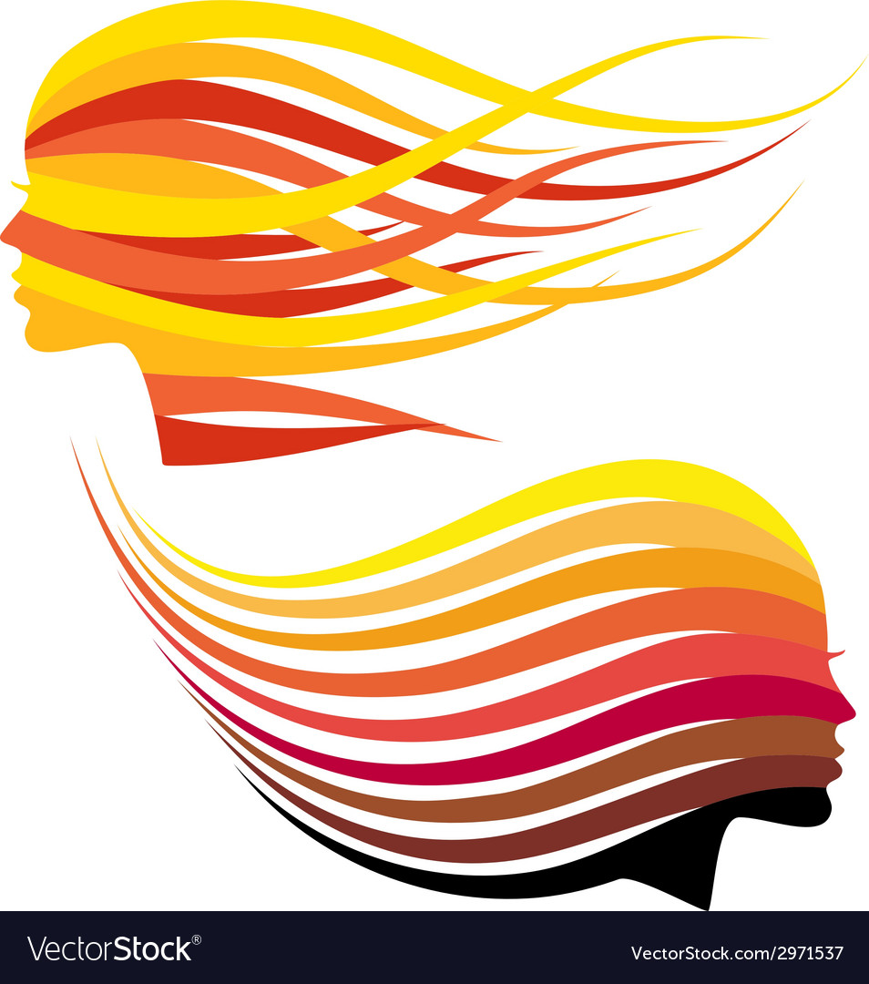 Woman head with hair colors vector | Price: 1 Credit (USD $1)