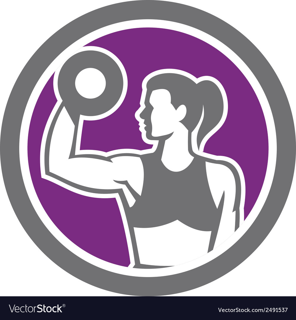 Woman lifting dumbbell weight retro vector | Price: 1 Credit (USD $1)