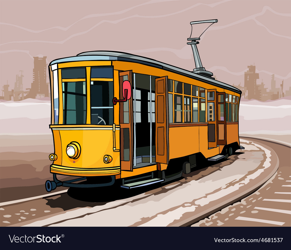 Yellow tram rides on rails by a winter city vector | Price: 3 Credit (USD $3)
