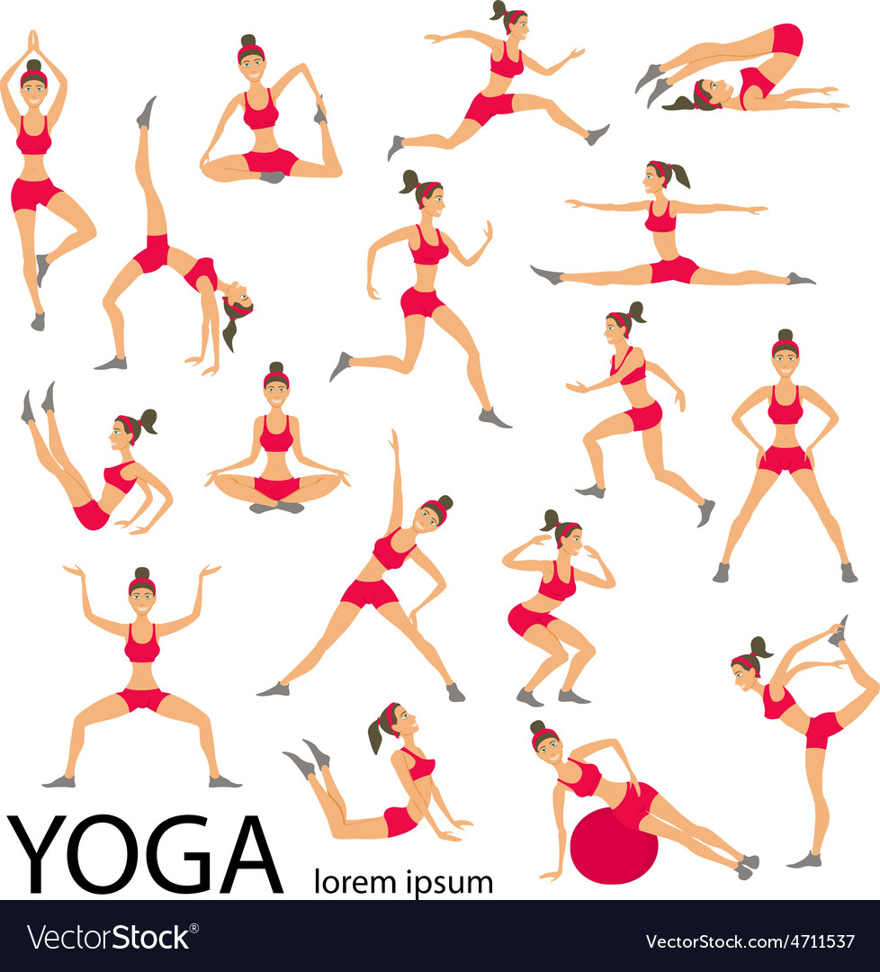 Yoga set women sketch asana girl healthy lifestyle vector | Price: 1 Credit (USD $1)