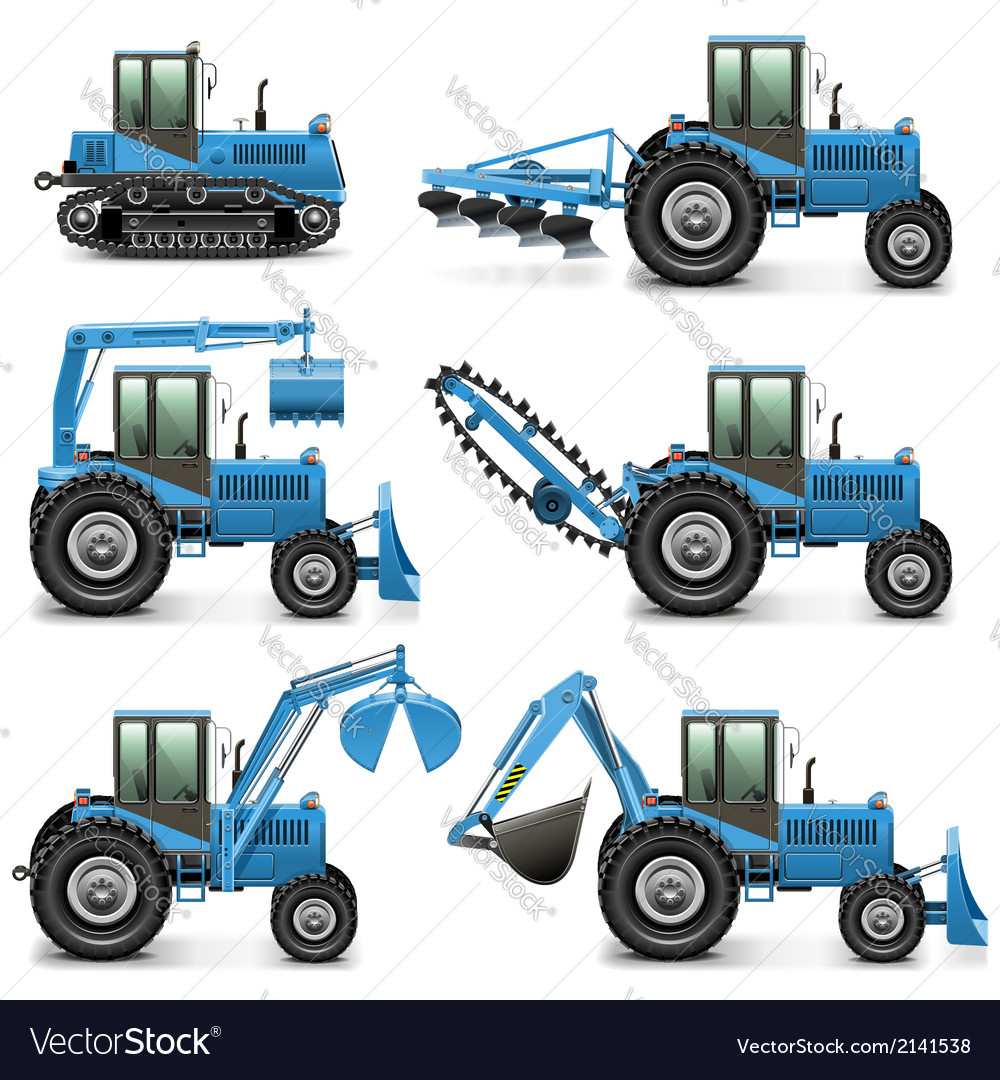 Agricultural tractor set 1 vector | Price: 3 Credit (USD $3)