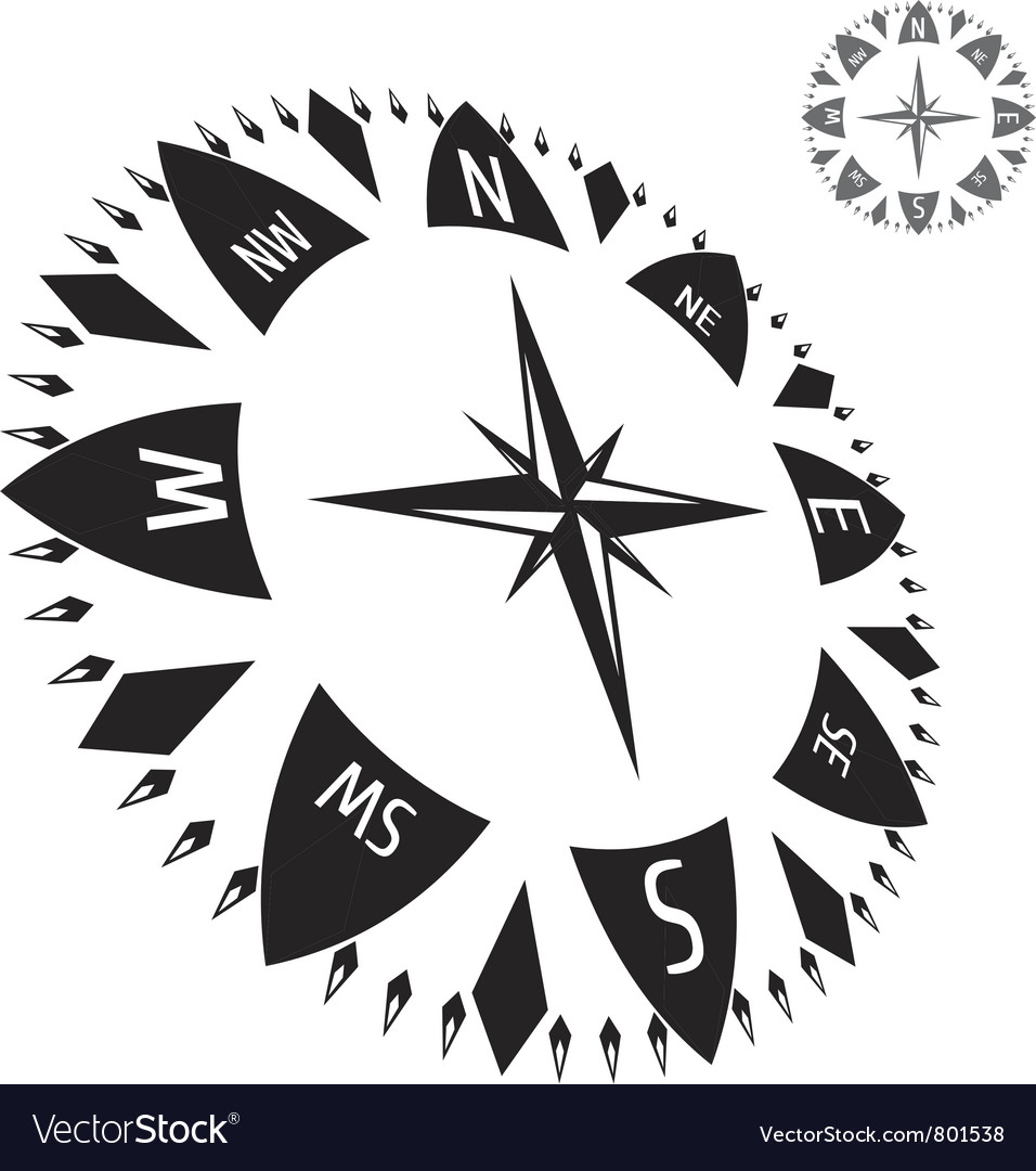 Black compass vector | Price: 1 Credit (USD $1)