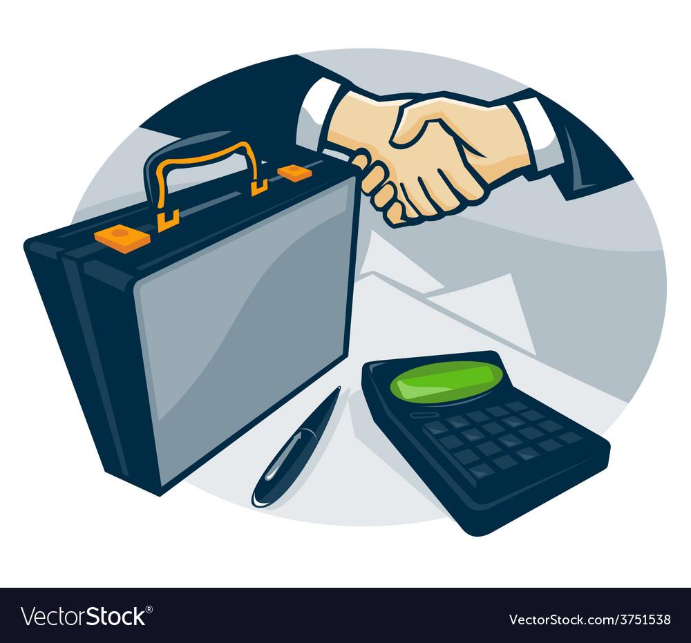 Business handshake deal briefcase retro vector   Price: 1 Credit (USD $1)