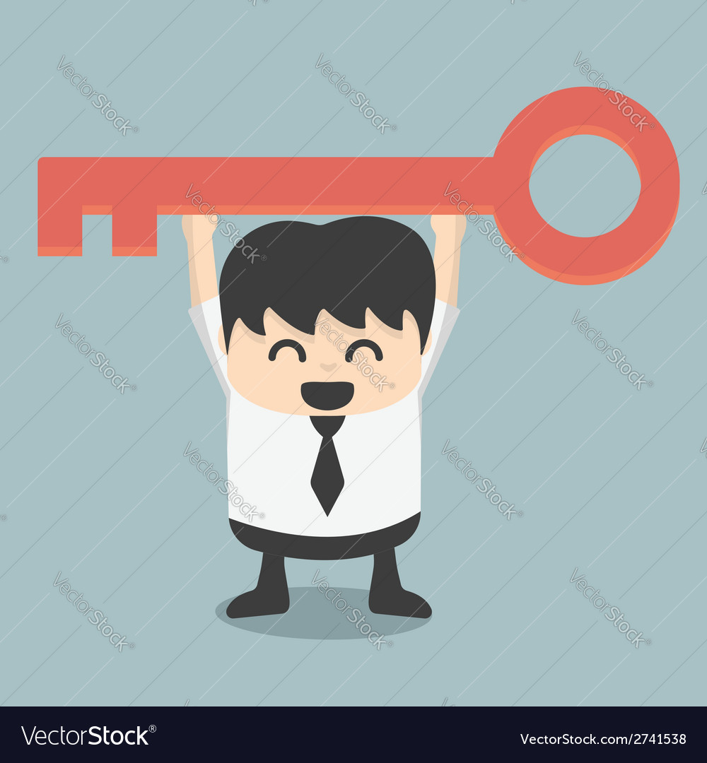 Businessman is holding a key of success vector | Price: 1 Credit (USD $1)