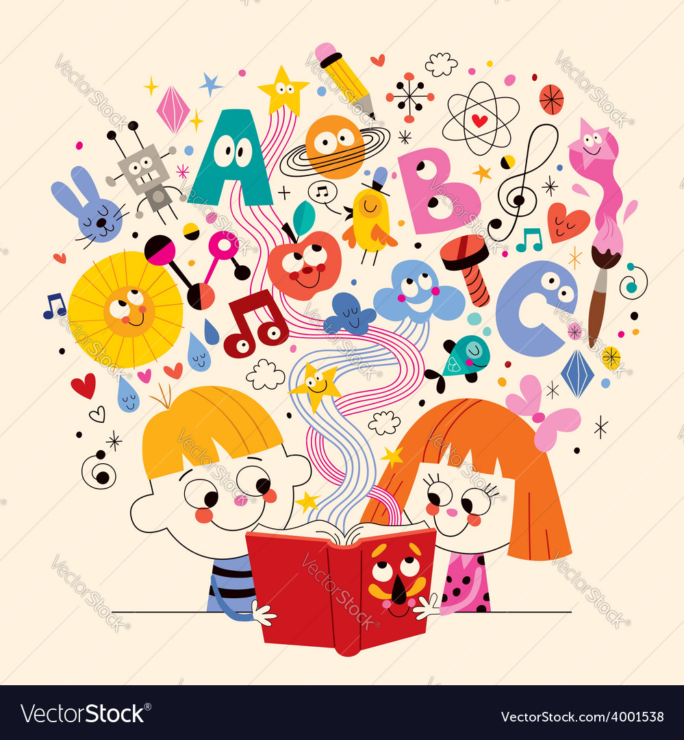 Cute kids reading book education concept vector | Price: 1 Credit (USD $1)