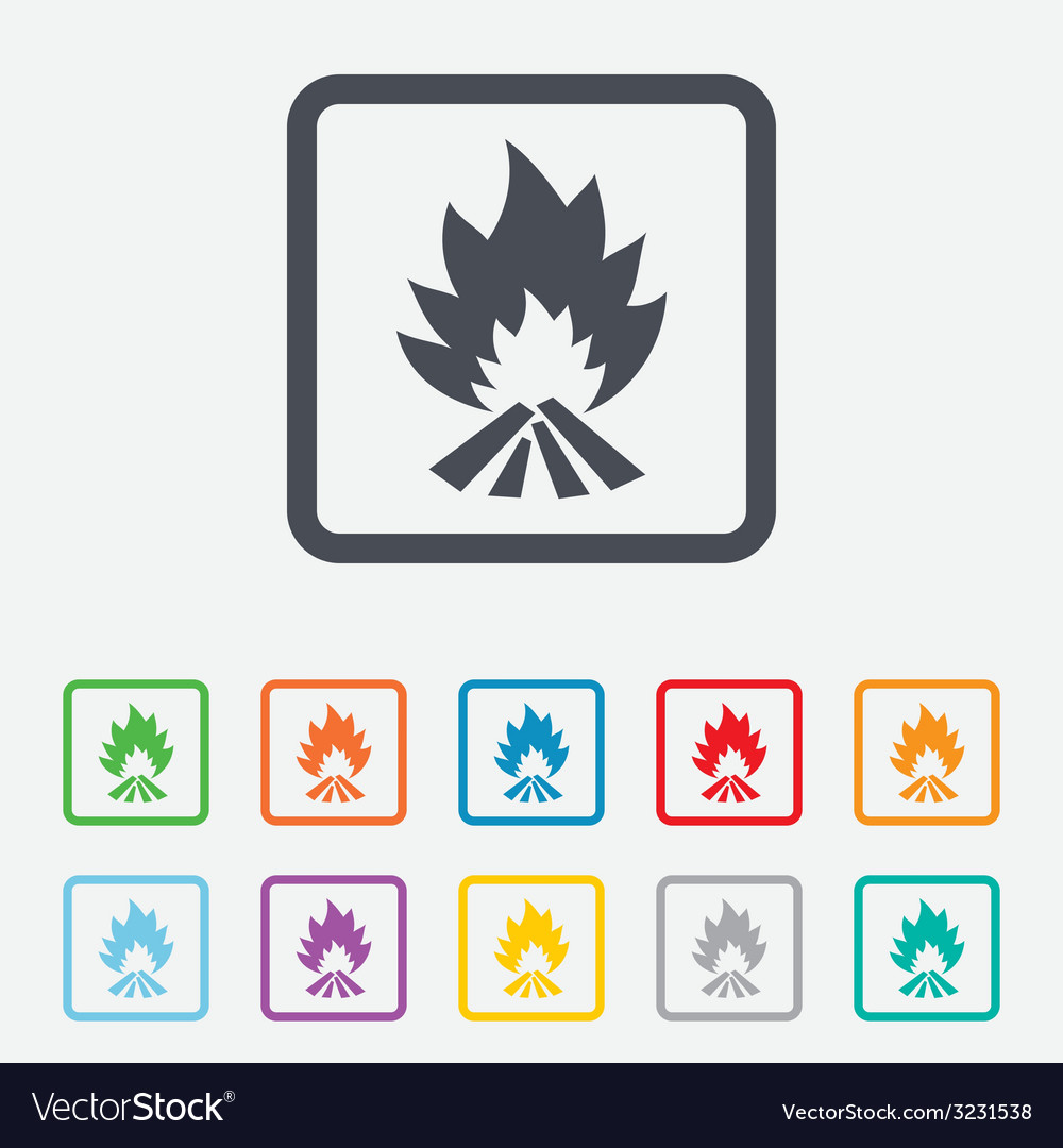 Fire flame sign icon heat symbol vector | Price: 1 Credit (USD $1)