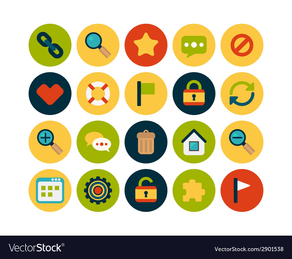 Flat icons set 1 vector | Price: 1 Credit (USD $1)