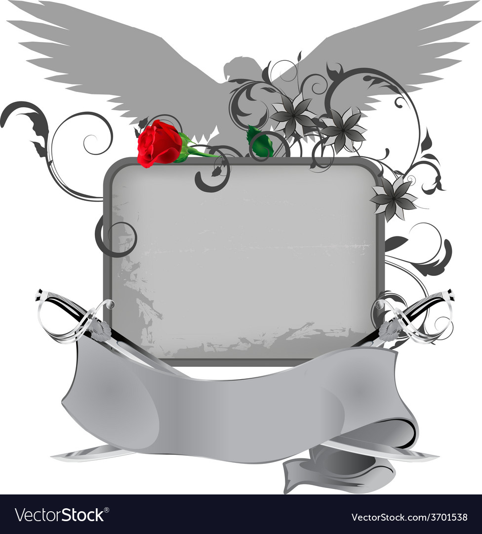 Grunge frame with swords and rose vector | Price: 1 Credit (USD $1)