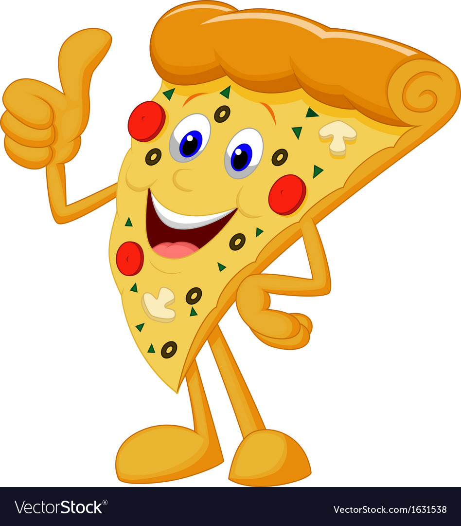 Happy pizza cartoon with thumb up vector | Price: 1 Credit (USD $1)