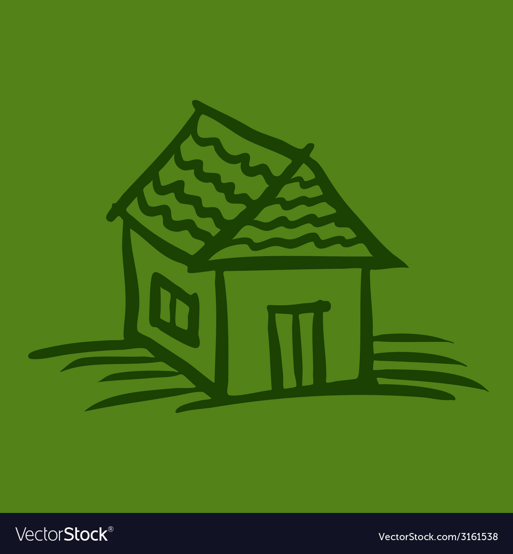 House sketch on green background vector | Price: 1 Credit (USD $1)