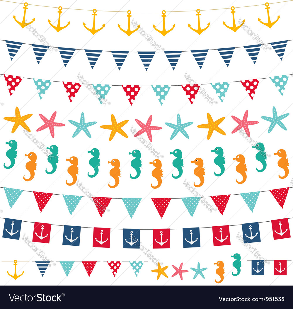 Marine bunting and garland set vector | Price: 1 Credit (USD $1)