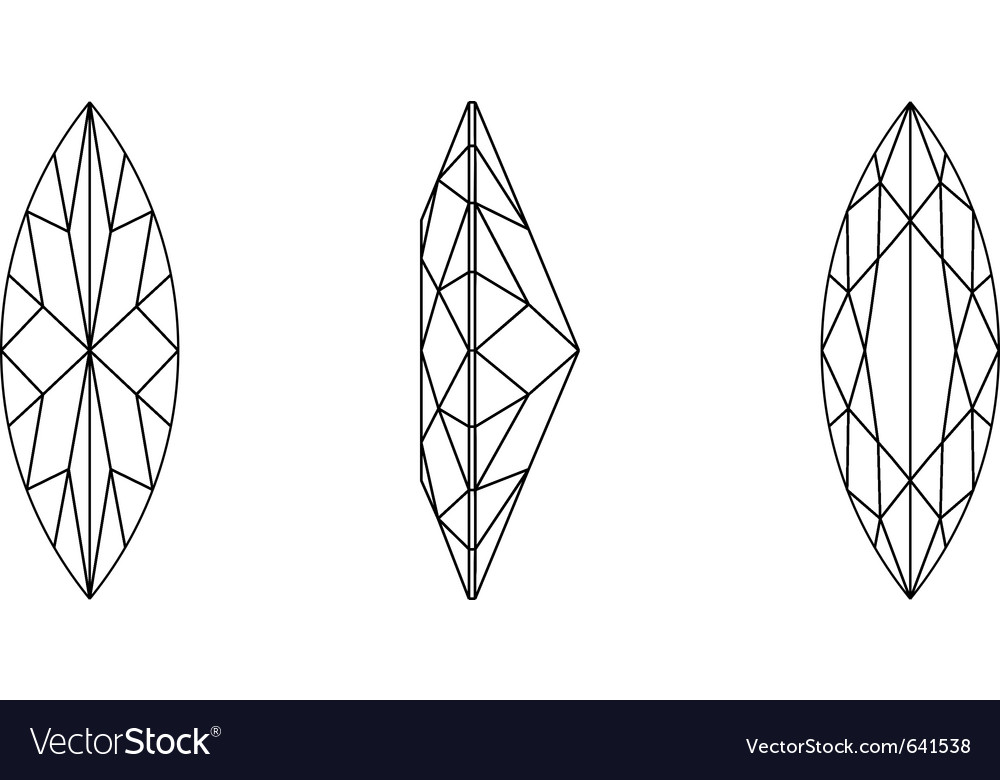 Marquis shape gemstone wire frame vector | Price: 1 Credit (USD $1)