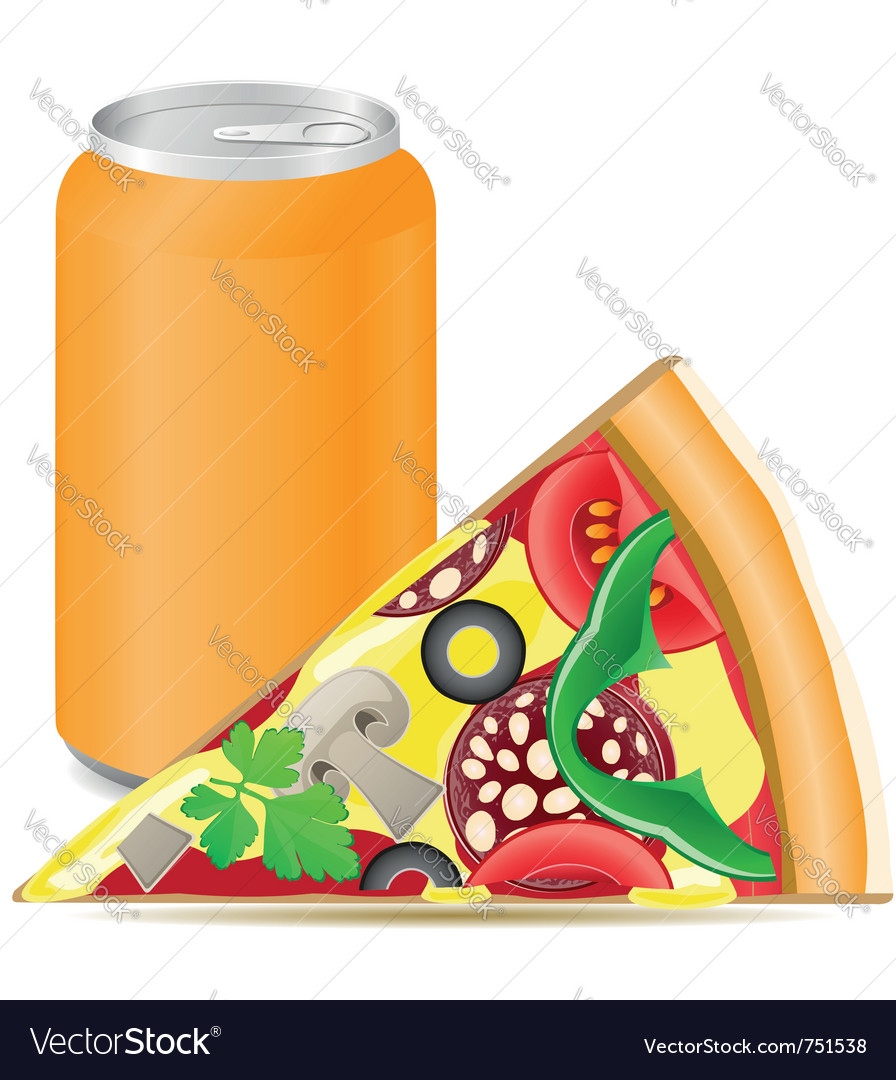 Pizza and aluminum cans with soda vector | Price: 1 Credit (USD $1)