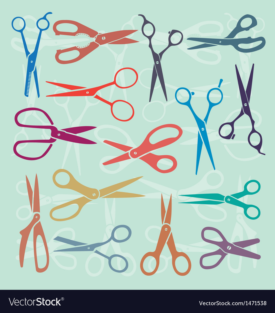 Retro color scissors vector | Price: 1 Credit (USD $1)