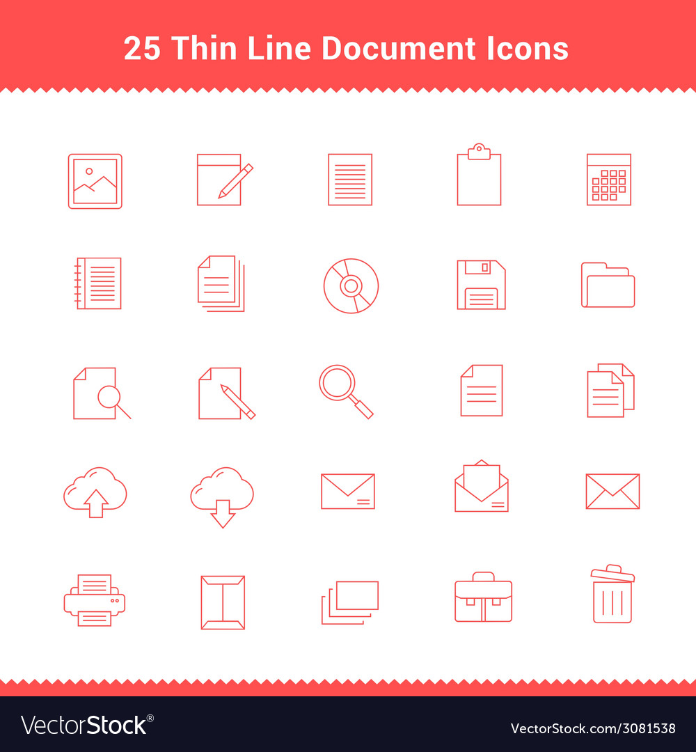 Set of thin line stroke document icons vector | Price: 1 Credit (USD $1)
