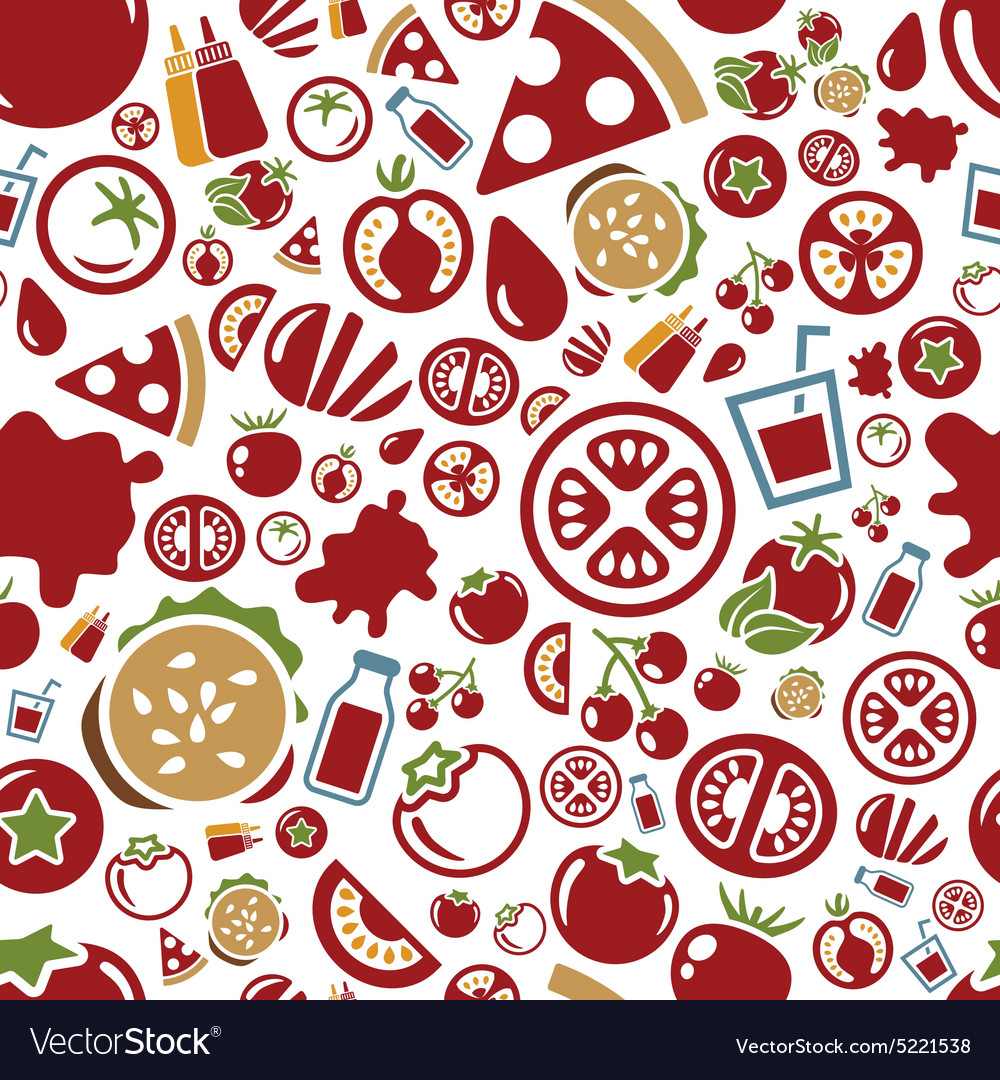 Tomato seamless pattern vector