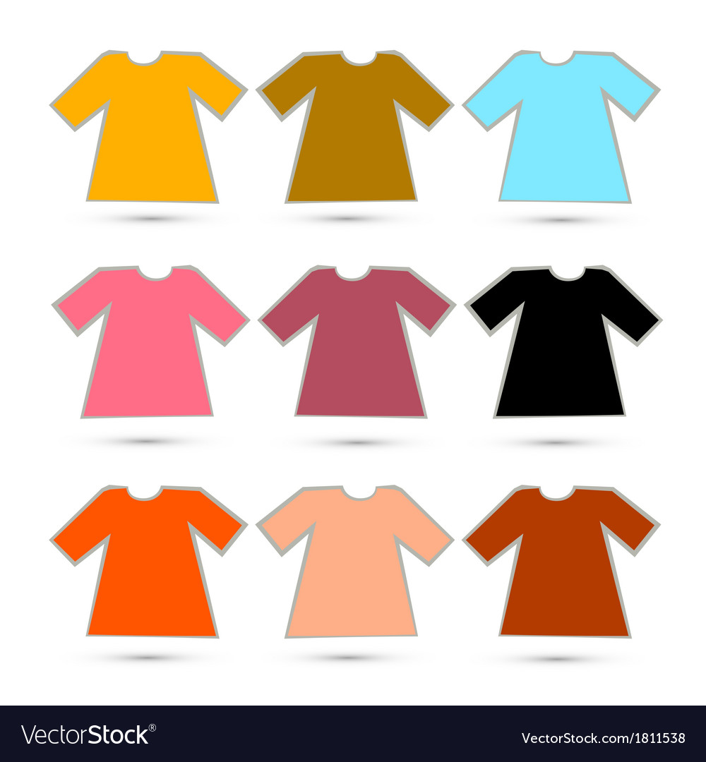 T-shirt set in retro colors isolated on white vector | Price: 1 Credit (USD $1)