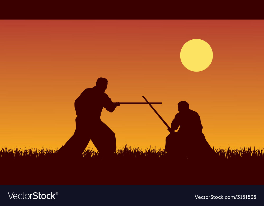 Two men are occupied with aikido against the vector | Price: 1 Credit (USD $1)