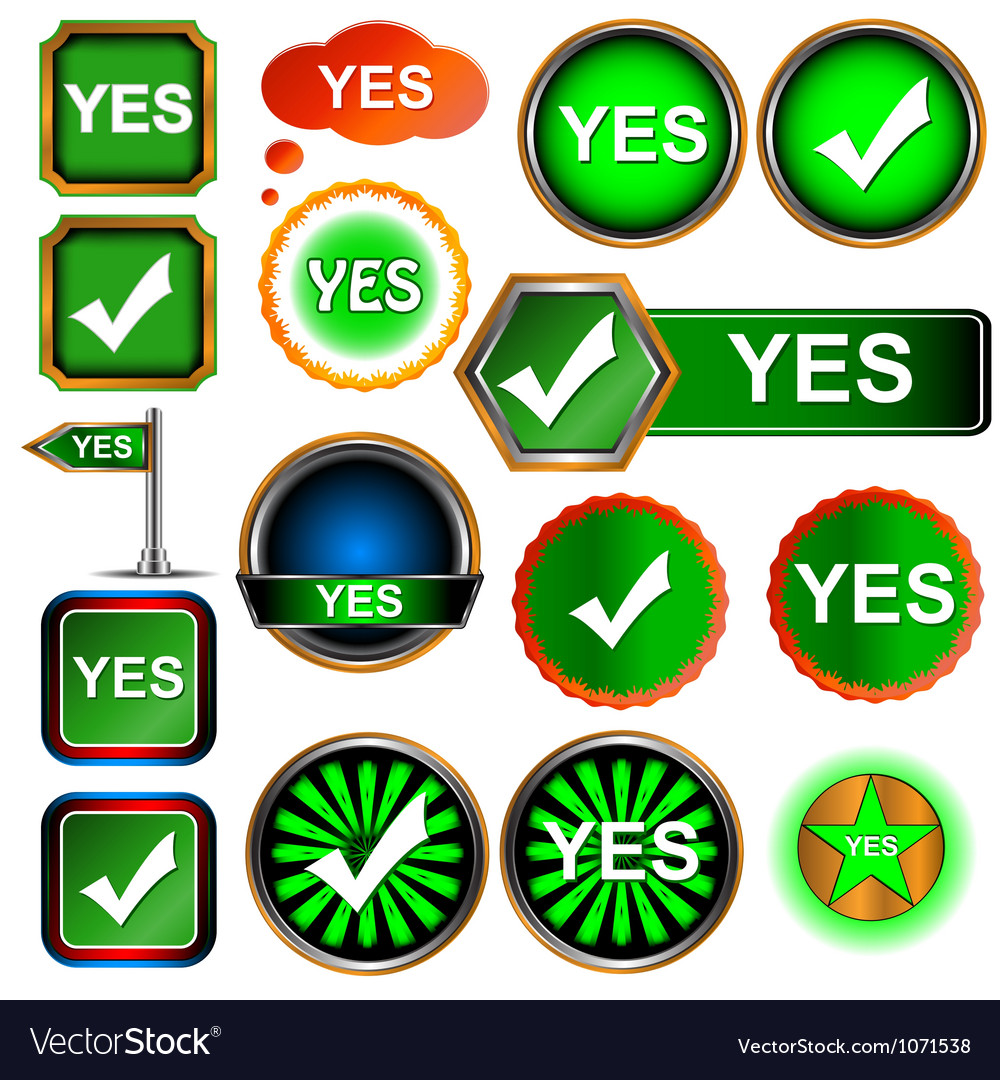 Yes icons set vector | Price: 1 Credit (USD $1)