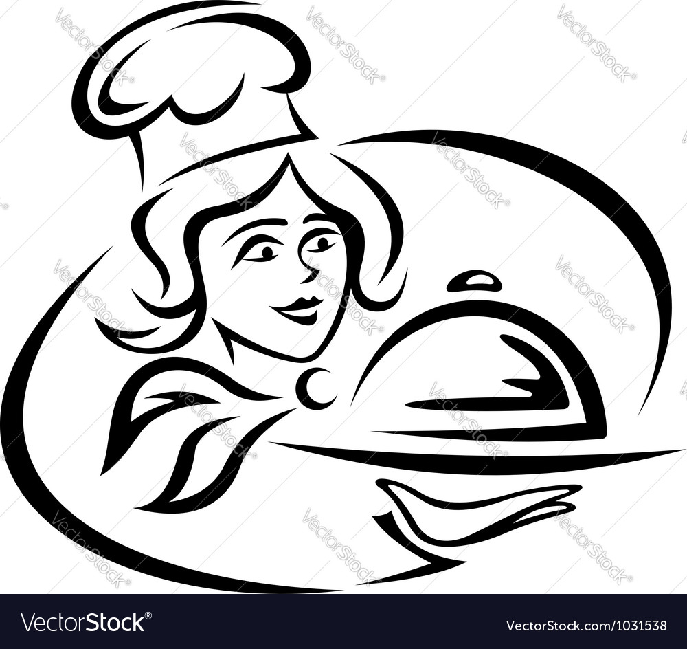 Young waitress with food tray vector | Price: 1 Credit (USD $1)