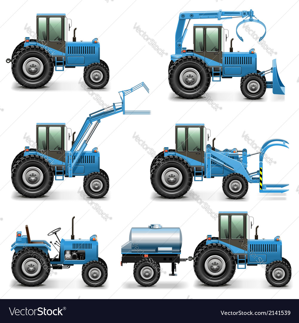 Agricultural tractor set 2 vector | Price: 3 Credit (USD $3)