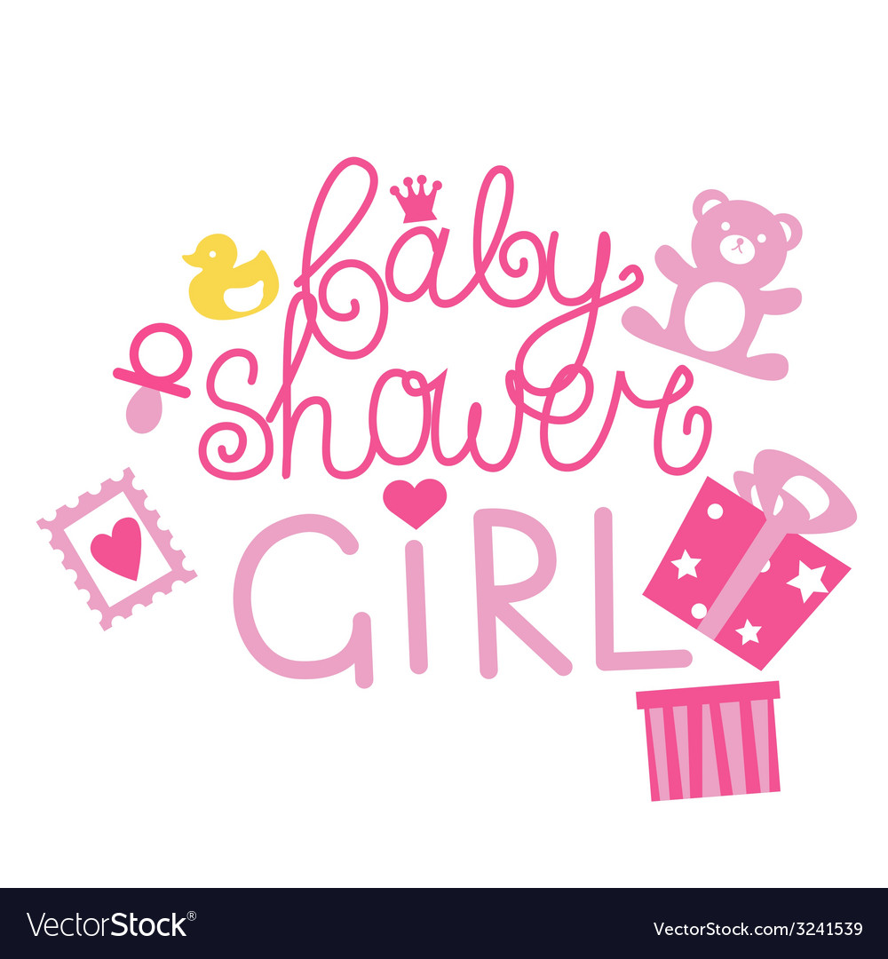 Baby shower design for girl vector | Price: 1 Credit (USD $1)