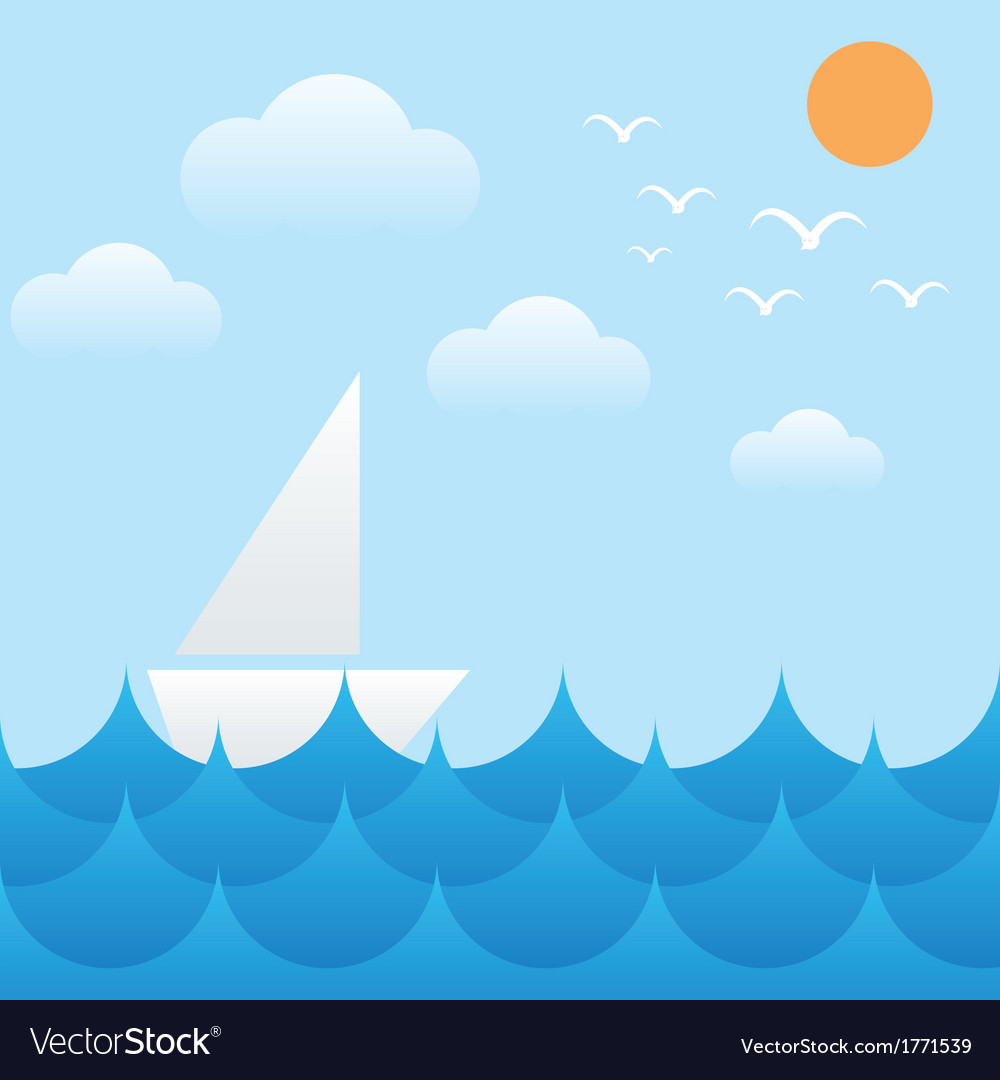 Boat at sea wavessunsky and cloud vector | Price: 1 Credit (USD $1)